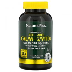 Nature's Plus, High Potency Cal/Mag/Vit D3, Vanilla Flavored, 60 Chewables Pozostałe