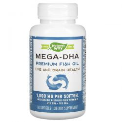 Nature's Way, Mega-DHA Premium Fish Oil, 1,000 mg, 60 Softgels Pozostałe