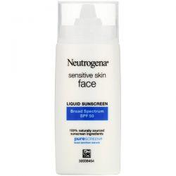 Neutrogena, Sensitive Skin, Face,  Liquid Sunscreen, SPF 50, 1.4 fl oz (40 ml) Dla Dzieci