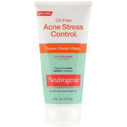 Neutrogena, Oil-Free Acne Stress Control, Power-Cream Wash, 6 fl oz (177 ml) Dla Dzieci