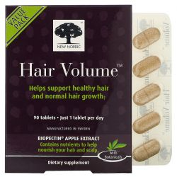 New Nordic, Hair Volume with  Biopectin Apple Extract, 90 Tablets Dla Dzieci