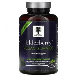 New Nordic, Elderberry Vegan Gummies with Elderberry Extract, 60 Gummies Dla Dzieci