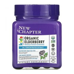 New Chapter, Kids Organic Elderberry Whole-Food Gummies, Ages 2+, 30 Vegan Gummies Dla Dzieci