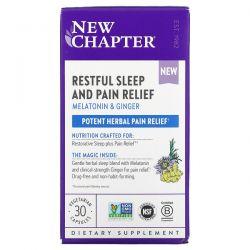 New Chapter, Restful Sleep and Pain Relief, Melatonin & Ginger, 30 Vegetarian Capsules Dla Dzieci