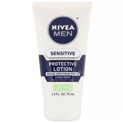 Nivea, Men, Sensitive Protective Lotion,  SPF 15, 2.5 fl oz (75 ml) Dla Dzieci