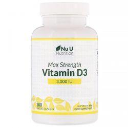 Nu U Nutrition, Max Strength Vitamin D3, 3,000 IU, 180 Softgel Capsules Pozostałe