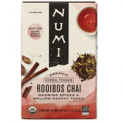 Numi Tea, Organic Herbal Teasan, Rooibos Chai, Caffeine Free, 18 Tea Bags, 1.71 oz (48.6 g) Pozostałe