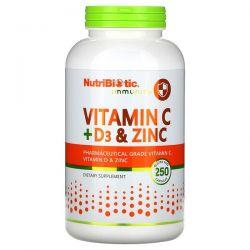 NutriBiotic, Immunity, Vitamin C + D3 & Zinc, 250 Capsules Pozostałe
