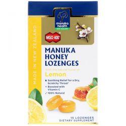 Manuka Health, Manuka Honey Lozenges, Lemon, MGO 400+, 15 Lozenges Pozostałe