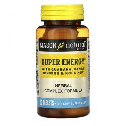 Mason Natural, Super Energy with Guarana, Panax Ginseng & Kola Nut, 60 Tablets Animowane