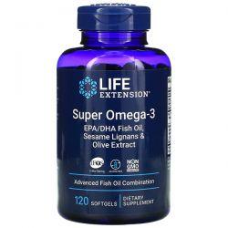 Life Extension, Super Omega-3 EPA/DHA Fish Oil, Sesame Lignans & Olive Extract, 120 Softgels Pozostałe