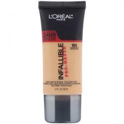 L'Oreal, Infallible Pro-Matte Foundation, 105 Natural Beige, 1 fl oz (30 ml) Pozostałe
