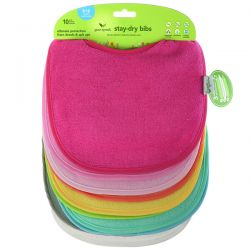 Green Sprouts, Stay-Dry Bibs, 3-12 Months, Variety, 10 Pack Animowane