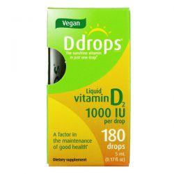 Ddrops, Liquid Vitamin D2, 1,000 IU, 0.17 fl oz (5 ml) Pozostałe