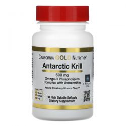 California Gold Nutrition, Antarctic Krill Oil, with Astaxanthin, RIMFROST, Natural Strawberry & Lemon Flavor, 500 mg, 30 Fish Gelatin Softgels Pozostałe
