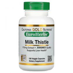 California Gold Nutrition, Milk Thistle Extract, EuroHerbs, European Quality, 175 mg, 180 Veggie Capsules Pozostałe
