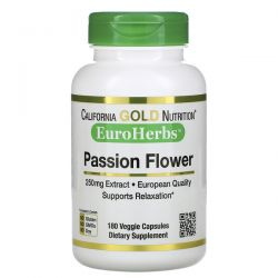 California Gold Nutrition, Passion Flower, EuroHerbs, 250 mg, 180 Veggie Capsules Pozostałe