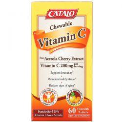 Catalo Naturals, Chewable Vitamin C, Orange Pineapple, 200 mg, 60 Chewable Tablets Pozostałe