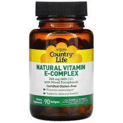 Country Life, Natural Vitamin E-Complex with Mixed Tocopherols, 268 mg (400 IU), 90 Softgels Pozostałe