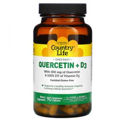 Country Life, Quercetin + D3, 90 Vegetarian Capsules Pozostałe