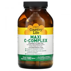 Country Life, Maxi C-Complex, 1,000 mg, 180 Tablets Pozostałe