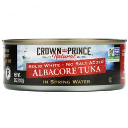 Crown Prince Natural, Albacore Tuna, Solid White - No Salt Added, In Spring Water, 5 oz (142 g) Animowane