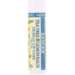 Badger Company, Organic, Tea Tree & Lemon Balm Herbal Lip Care, .15 oz (4.2 g) Pozostałe