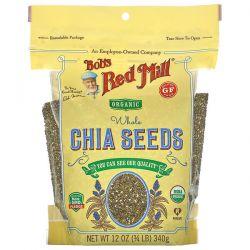 Bob's Red Mill, Organic Whole Chia Seeds, 12 oz (340 g) Animowane