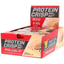 BSN, Protein Crisp, Vanilla Marshmallow, 12 Bars, 1.97 oz (56 g) Each Zdrowie i Uroda