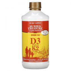 Buried Treasure, Liquid Nutrients, D3 Plus K2, 2,000 IU, 16 fl oz (473 ml) Zdrowie i Uroda