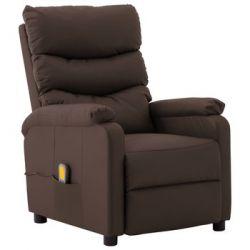 Rozkładany fotel masujący, brązowy, sztuczna skóra - vidaXL  Animowane
