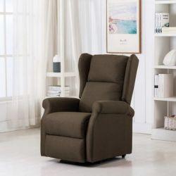 Fotel pionizujący z funkcją masażu, brązowy, tkanina - vidaXL  Pozostałe