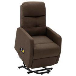 Podnoszony fotel masujący, rozkładany, brązowy, tkanina - vidaXL  Pozostałe