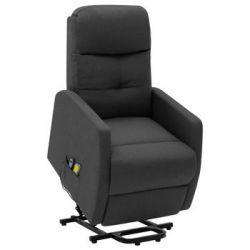 Podnoszony fotel masujący, rozkładany, ciemnoszary, tkanina - vidaXL  Pozostałe