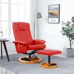 Fotel masujący z podnóżkiem, czerwony, sztuczna skóra - vidaXL  Pozostałe
