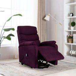 Fotel rozkładany, masujący, podnoszony, fioletowy, tkanina - vidaXL  Sport i Turystyka