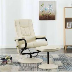 VidaXL Fotel masujący z podnóżkiem, kremowy, sztuczna skóra - vidaXL  Sport i Turystyka