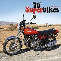 Kalendarz 70s Superbikes Calendar 2020 motocykle Książki i Komiksy