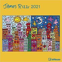 James Rizzi 2021 Square Wall Calendar Książki i Komiksy