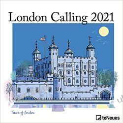 Kalendarz Londyn London Calling 2021 Square Wall Calendar Książki i Komiksy