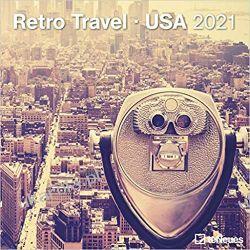 Kalendarz Retro Travel USA 2021 Square Wall Calendar Książki i Komiksy