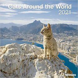 Kalendarz Koty Cats Around the World 2021 Square Wall Calendar Książki i Komiksy