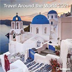 Kalendarz Travel Around the World 2021 Square Wall Calendar podróże Książki i Komiksy