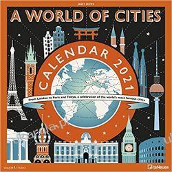 A World of Cities 2021 Square Wall Calendar miasta Gadżety i akcesoria