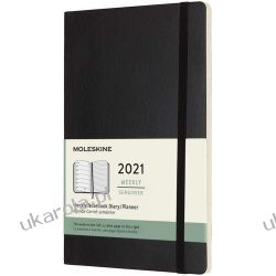 Moleskine Weekly Planner 2021, 12-Month Weekly Diary, Weekly Planner and Notebook, Soft Cover, Large Size 13 x 21 cm, Colour Black Pozostałe