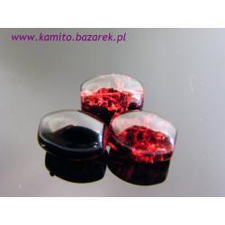 Koraliki czerwono-czarne crackle 11 mm,6 szt
