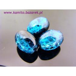 Koraliki niebiesko-czarne crackle 11 mm,6 szt