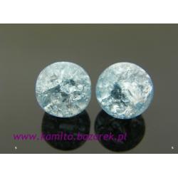 Koraliki błękitne crackle 8 mm,16 szt