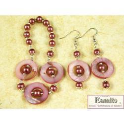 Komplet Biżuterii z Masy Perłowej, Różowy