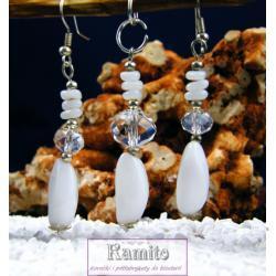Komplet Biżuterii z Zawieszką Biały